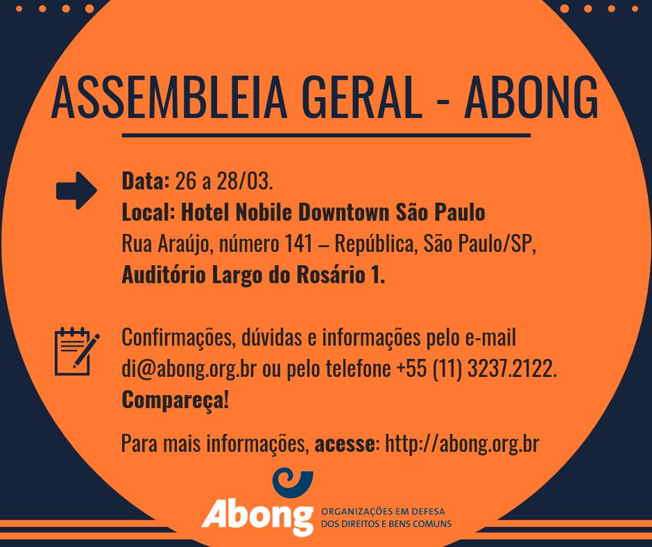 a87b43ec33 Abong convoca associadas para Assembleia Geral em março – Abong