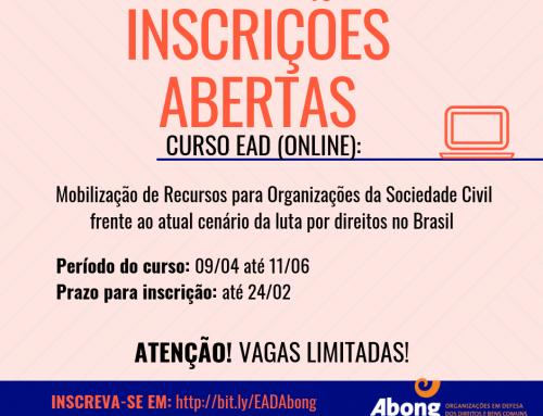 Abong abre inscrições para curso EaD de mobilização de recursos para OSCs
